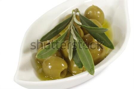 オリーブオイル 緑 オリーブ 支店 プレート 食品 ストックフォト © Saphira