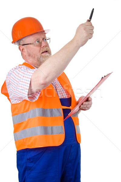 építkezés felügyelő mutat munka állás fehér Stock fotó © Saphira
