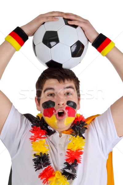 Football fan balle isolé blanche homme Photo stock © Saphira