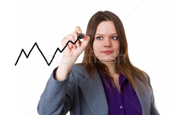Jonge vrouw tekening curve grafiek glas paneel Stockfoto © Saphira