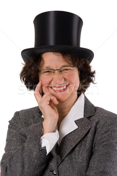 幸せ 女性 笑い 帽子 孤立した 白 ストックフォト © Saphira