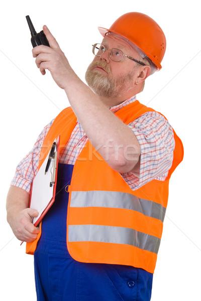Construcción supervisor senalando edificio Foto stock © Saphira
