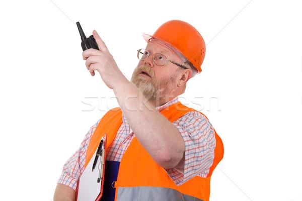 építkezés felügyelő adóvevő építőmunkás munkavédelmi sisak tart Stock fotó © Saphira