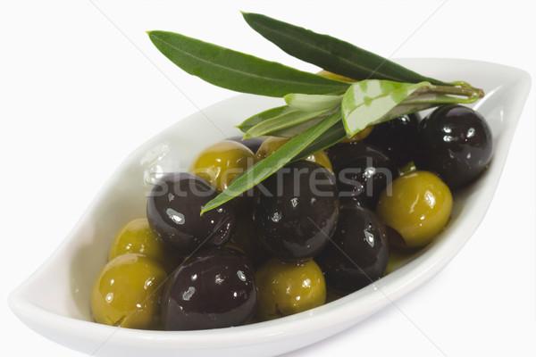 Olives pétrolières vert olives noires huile d'olive olive Photo stock © Saphira