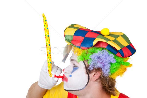 Clown fluiten veelkleurig cap man Stockfoto © Saphira
