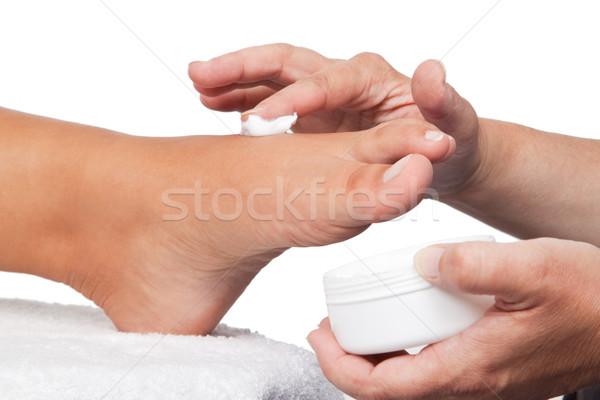Lábápolás krém láb egészség szépség bőr Stock fotó © Saphira