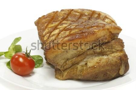 Stok fotoğraf: Domuz · eti · plaka · beyaz · mutfak · akşam · yemeği
