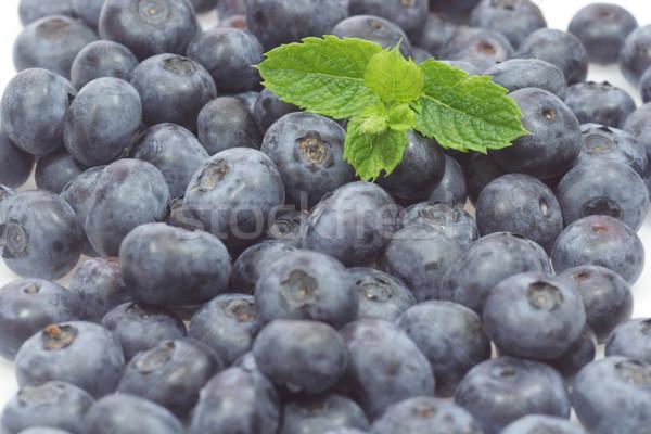 ブルーベリー 新鮮な ミント 葉 白 食品 ストックフォト © Saphira