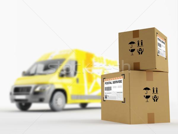 Servicio postal cartón cajas vehículo cuadro libre Foto stock © Saracin
