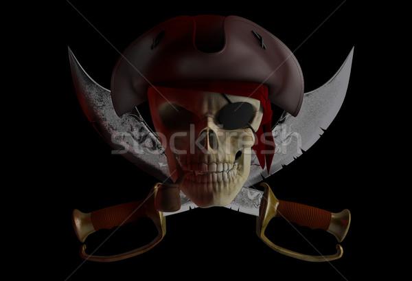 пиратских череп Hat Готский преступление скелет Сток-фото © Saracin