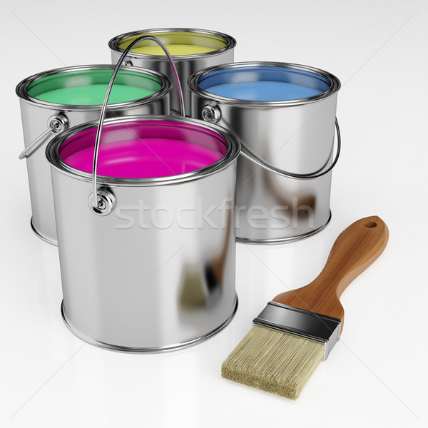 Cans of paint and a brush  Stock photo © Saracin