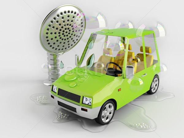 Car wash grappig auto speelgoed water bubbels Stockfoto © Saracin