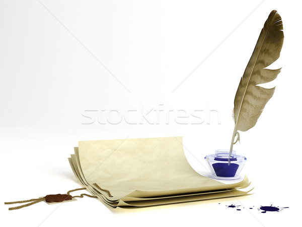 Old paper and quill pen Stock photo © Saracin