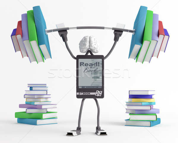 Hoedanigheid ebook man zwaar barbell sport Stockfoto © Saracin