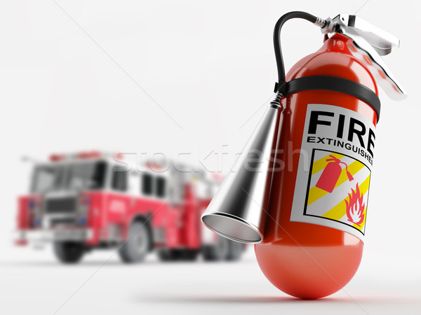 Fire truck and a fire extinguisher Stock photo © Saracin