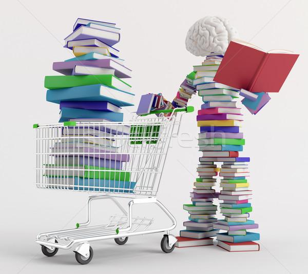 Księgarnia charakter czytania książki koszyka pełny Zdjęcia stock © Saracin