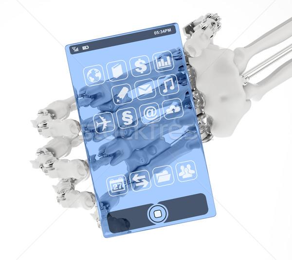 Telefone futuro braço protótipo transparente mão Foto stock © Saracin