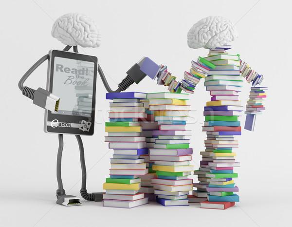 Inteligentny dwa charakter czytania książek technologii Zdjęcia stock © Saracin