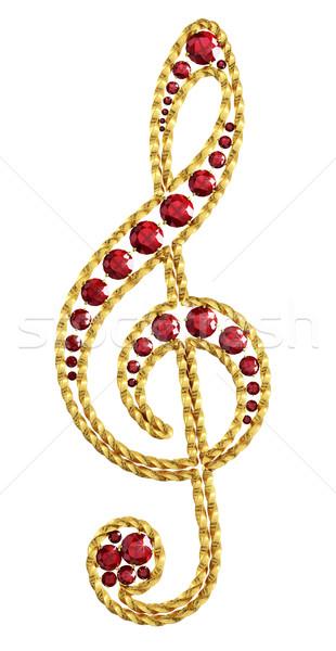 Klucz wiolinowy złoty dekoracji rubin streszczenie złota Zdjęcia stock © Saracin