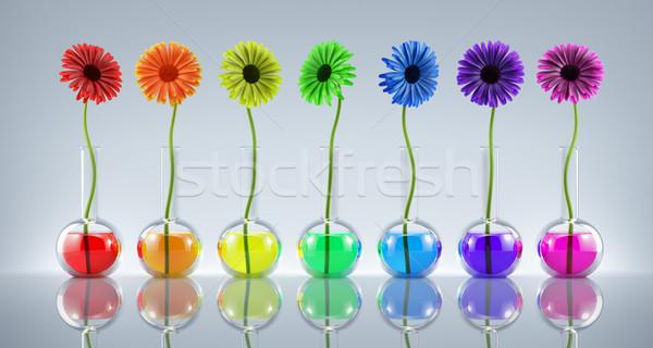 Génétique modification fleurs laboratoire différent couleurs Photo stock © Saracin
