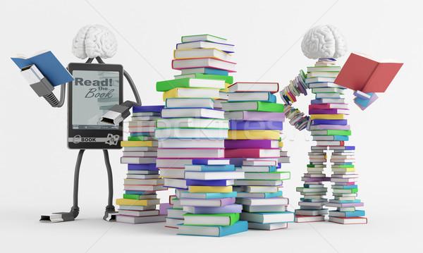 чтение два мозг обучения Cartoon Сток-фото © Saracin