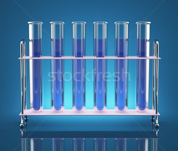 Kimyasallar test mavi renk laboratuvar Stok fotoğraf © Saracin