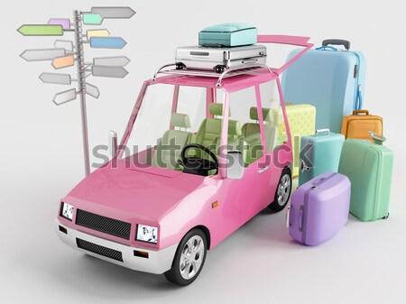 Megtankol kicsi autó fúvóka játékok citromsárga Stock fotó © Saracin