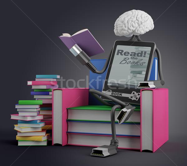 Ebook człowiek charakter posiedzenia krzesło książek Zdjęcia stock © Saracin