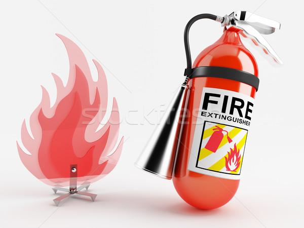 Yangın söndürücü kırmızı plastik taklit yangın model Stok fotoğraf © Saracin