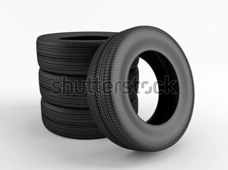セット タイヤ 新しい 白 ホイール プロファイル ストックフォト © Saracin