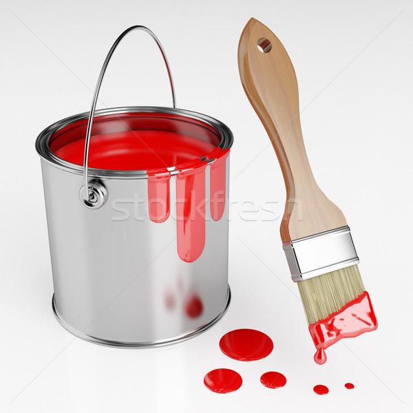 можете красный краской кистью работу аннотация Сток-фото © Saracin