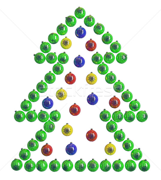 Christmas dekoracje choinka projektu zielone niebieski Zdjęcia stock © Saracin