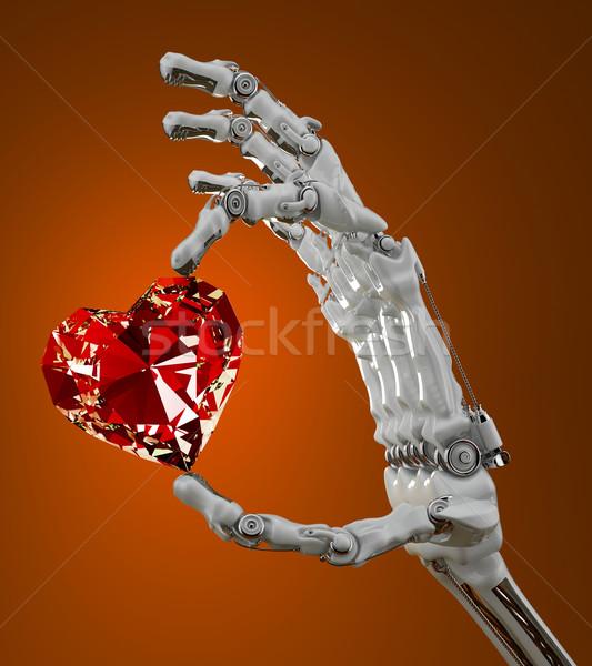 Diamant hart robotachtige arm hand Stockfoto © Saracin