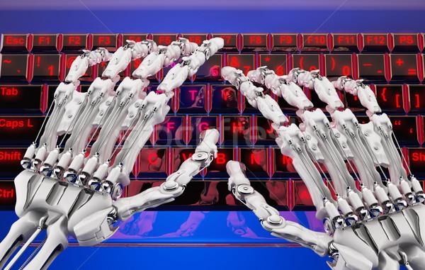 ストックフォト: パスワード · ロボット · 腕 · キーボード · 透明な · 赤