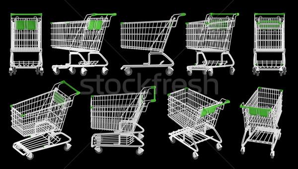 ショッピング 異なる 黒 金属 銀 カート ストックフォト © Saracin