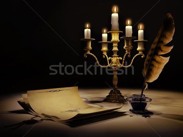 Medieval estilo vintage papel pluma tinta Foto stock © Saracin