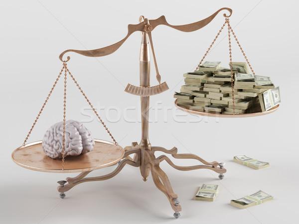 цен интеллект один конец масштаба мозг Сток-фото © Saracin