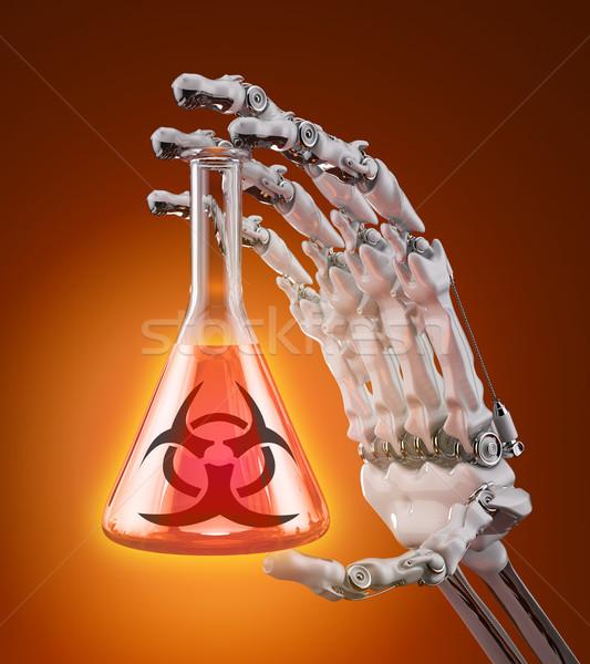 Foto stock: Biológico · test · tube · agente · robótico · braço · mão