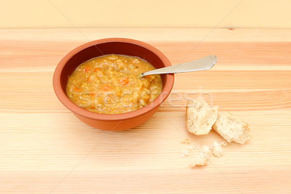 Vegetable soup with remainder of bread roll Stock photo © sarahdoow