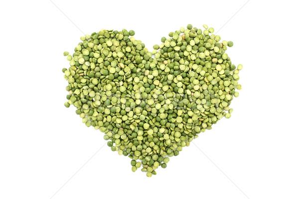 Green split peas in a heart shape Stock photo © sarahdoow