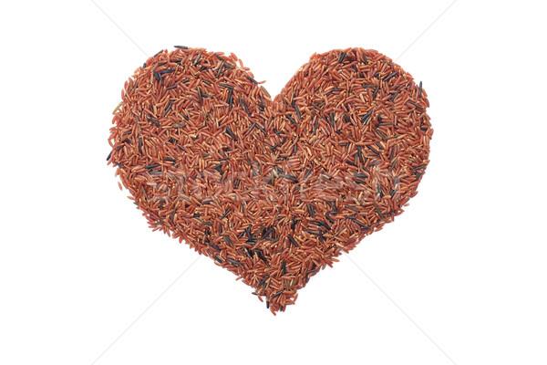 Foto stock: Rojo · arroz · forma · de · corazón · aislado · blanco · alimentos