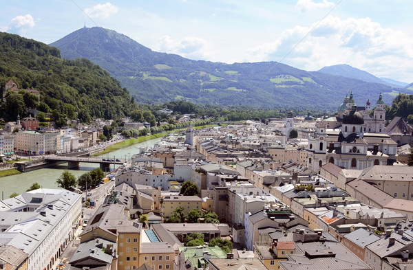 Salzburg cityscape - Salzach river and Old Town Stock photo © sarahdoow
