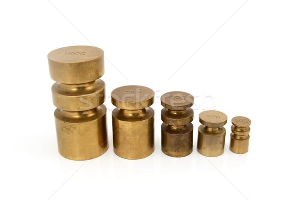 Latão métrico pesos conjunto metal ferramenta Foto stock © sarahdoow