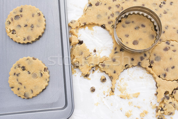 Chocolate chip cookies on a baking tray Stock photo © sarahdoow
