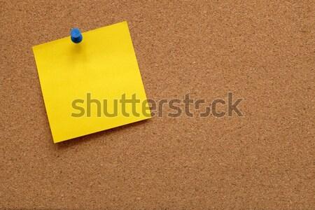 Foto stock: Amarelo · placa · de · cortiça · cortiça · quadro · de · avisos · cópia · espaço