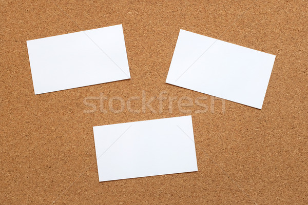 Three blank cards on a cork board Stock photo © sarahdoow
