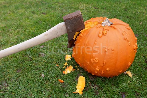 топор тыква оранжевый пышный газона сломанной Сток-фото © sarahdoow