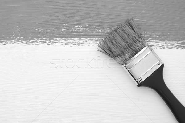 Streep verf penseel witte horizontaal vuile Stockfoto © sarahdoow