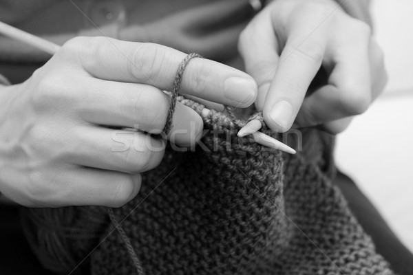 Closeup of woman knitting with wool Stock photo © sarahdoow