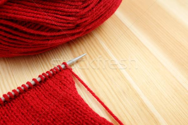 ステッチ 針 赤 ウール ストッキング ストックフォト © sarahdoow